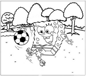 Spongebob playing a ball coloring sheet