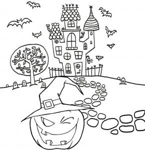 Spooky Pumpkin Ghost House Coloring Page