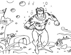 Superhero DC Aquaman Coloring Page for Boys