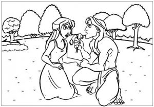 Tarzan and Jane Coloring Disney Page