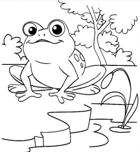 Tree Frog Cartoon Coloring Sheet