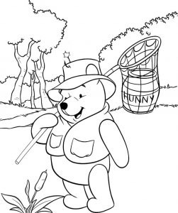 Winnie The Pooh Looking for Honey Coloring Sheet