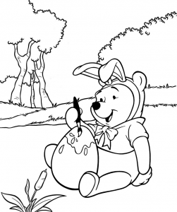 Winnie the Pooh Easter Day Painting Egg Coloring Page