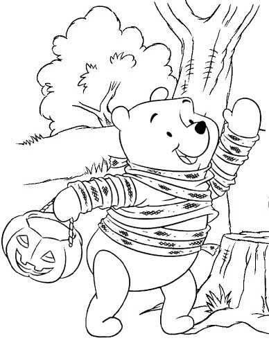 Winnie The Pooh Halloween Coloring Page Mitraland