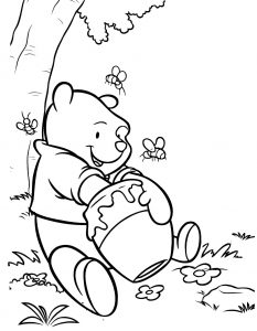 Winnie the Pooh Honey Jar Coloring Page