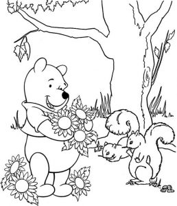 Winnie the Pooh and Flowers Coloring Disney Sheet