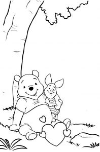 Winnie the Pooh and Piglet Take a Rest Under Tree Coloring Sheet