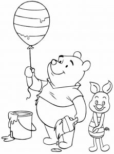 Wiwinnie the Pooh and Piglet Painting Balloons Coloring Sheet