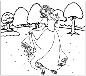 Wonderful Snow White Coloring Page of Disney Family