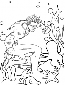 aquaman fight scene coloring dc comics sheet