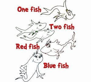 dr seuss one fish two fish craft coloring page for prechool