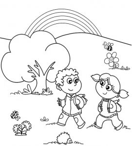 rainbow and kids going to the school coloring page