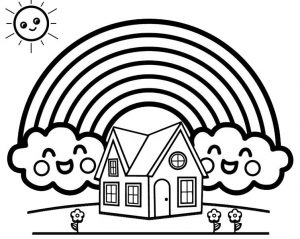 rainbow background of home coloring sheet