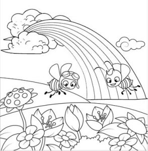 rainbow in the garden coloring page
