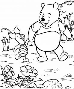 winnie the pooh and Piglet walking Coloring Page