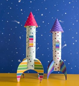 DIY rocket paper craft made with construction paper