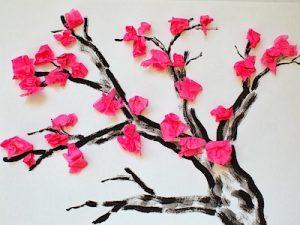 Flower tree tissue paper craft