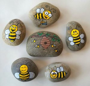 Happy Bees Stone Painting for Kids Project