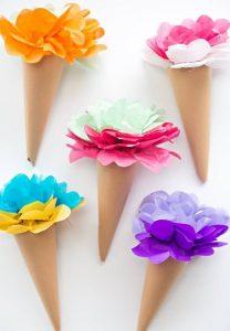 Ice cream cones tissue paper craft