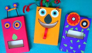 Monsters Made with Recycled Cereal Boxes
