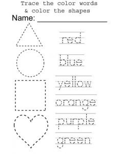Name of Colors and Shapes Tracing Worksheet