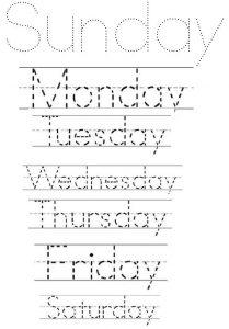 Name of Weeks Tracing Worksheet