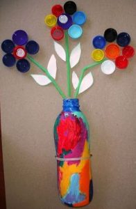 Recycled bottle cap flower craft