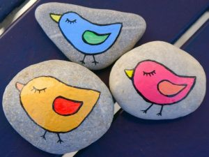 The Little Chickens Rock Painting
