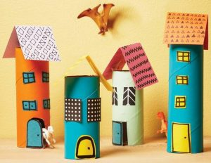 Toilet Paper Roll Building Crafts for Kids