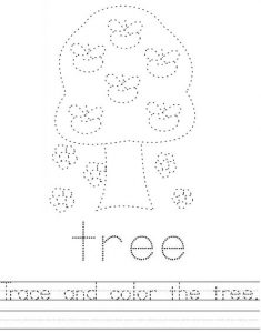 tree name tracing worksheets for kids