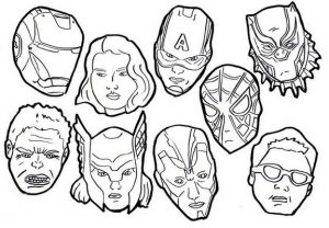 Cartoon Avenger Mask Coloring Page in Pandemic Covid 19