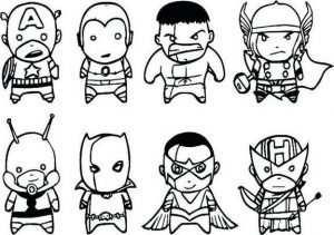 Chibi Avengers Coloring Page for Kids