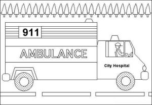 ambulance car coloring page to help patience