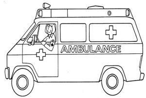 ambulance coloring page to teach the importance of health