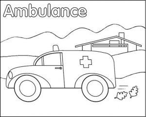 ambulance public health coloring sheet for kids