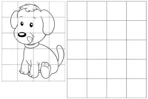 grid drawing of cute puppy dog