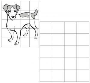 grid drawing of dog