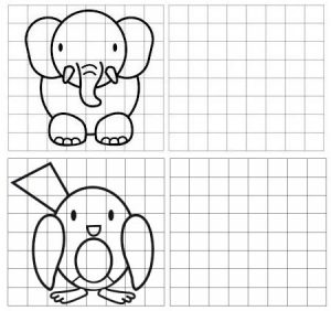 grid drawing of elephant and bird for kids