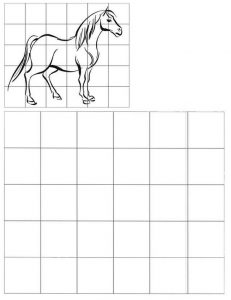 grid drawing of horse
