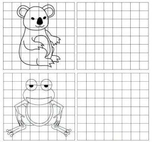 grid drawing of koala and frog