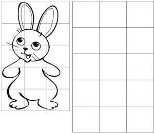 grid drawing of rabbit