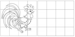 grid drawing of rooster