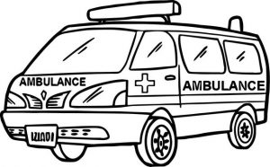 hospital ambulance coloring page for your kids during pandemic