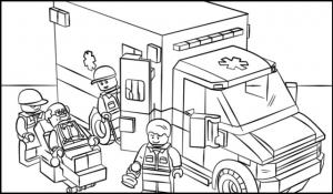 lego ambulance and nurse coloring page